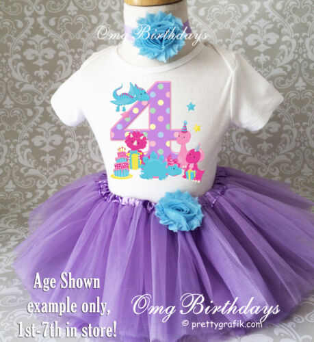 Dinosaurs Dino Purple Blue Pink Polka dots 4th Birthday Tutu Outfit Shirt Set