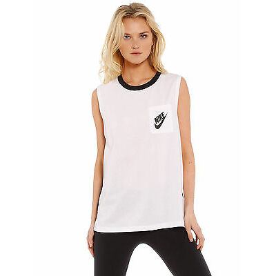 New Nike Signal Muscle Tank In White Black Womens Singlets & Camisole's