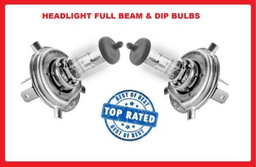CAR headlamp bulbs PEUGEOT Dip//low Main//Hi Beam 12v H4 60//55w Halogen 107 2005