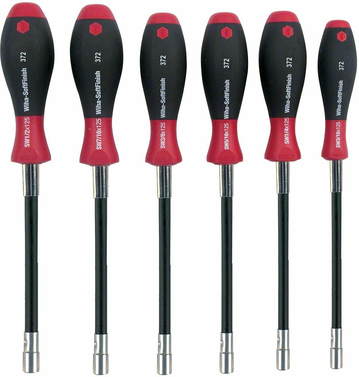 Wiha 37290 Long Flexible Shaft Nut Driver Set with SoftHandles, Inch, 6 Piece