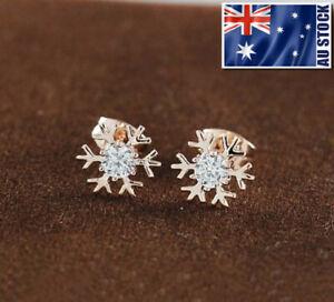 18K-Rose-GOLD-GF-Cute-Snow-Snowflake-Swarovski-Crystal-Stud-Earrings-Gift