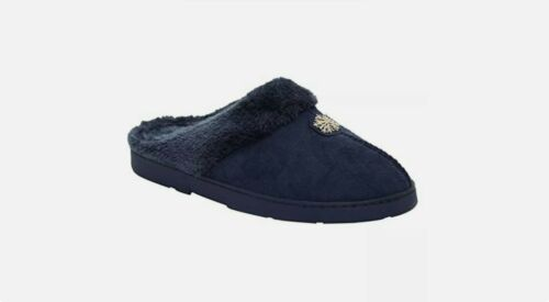 LADIES SLIPPERS MULES WARM OUTDOOR SOLE COMFORT SLIP ON FUR LINED WOMENS SIZE