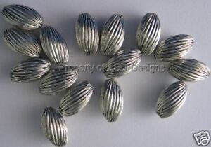 10pc Silver Plated Ribbed Oval Barrel Spacer Beads 5560