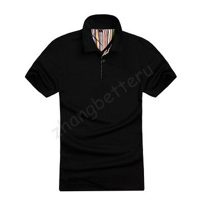 Hot !!! Men's New Plain Polo Casual Shirt Jersey T-shirt Tops 4 Sizes Any Colors