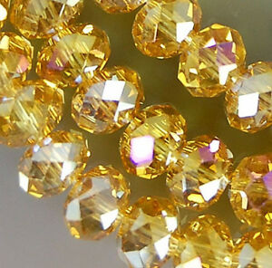 1000PCS 3x4mm Gold Crystal Faceted Abacus Loose Beads 5040