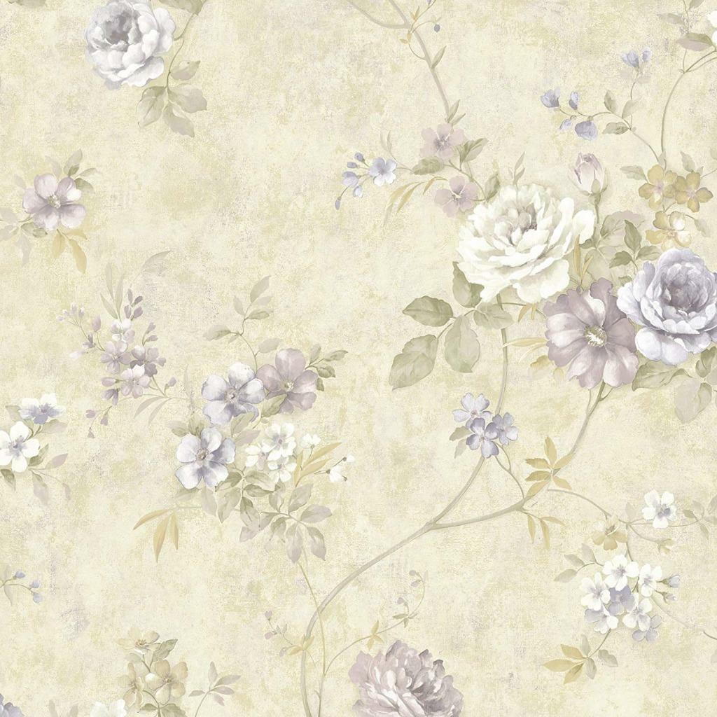 Wallpaper Designer Floral Trail Lavender Peach Green On Cream Faux