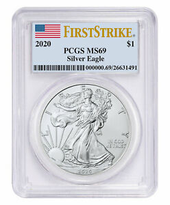 2020 1 oz American Silver Eagle $1 Coin PCGS MS69 FS Flag Label SKU59491
