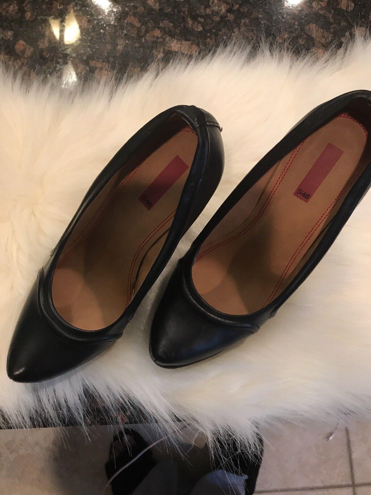 Saks Fifth Avenue 5 48 Black Leather Wedge Heel Pumps Sz 39.5  150