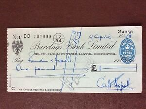 b1u ephemera cashed barclays bank cheque 1948 April 501090 bb - Leicester, United Kingdom - b1u ephemera cashed barclays bank cheque 1948 April 501090 bb - Leicester, United Kingdom