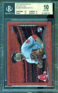 Mookie-Betts-Rookie-Card-2014-Topps-Update-Red-Hot-Foil-US301-PRISTINE-BGS-10