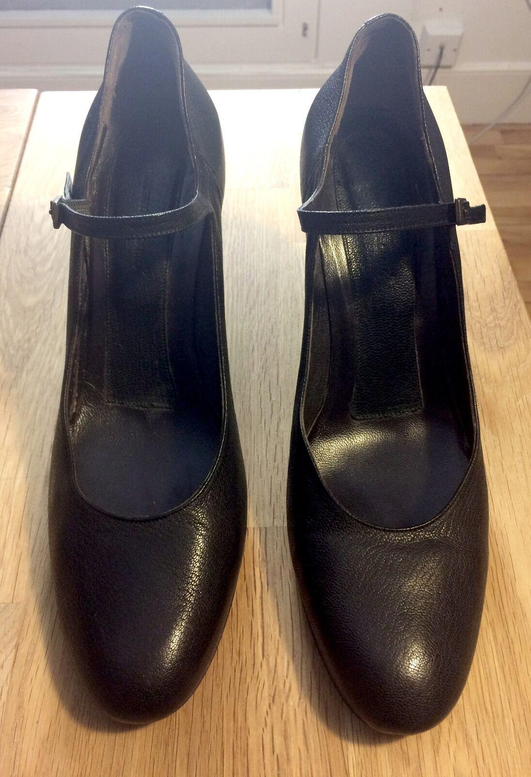 Roberto Del Carlo Mary Jane Talon Couvert Escarpins Chaussures Minuit Noir Taille 40.5