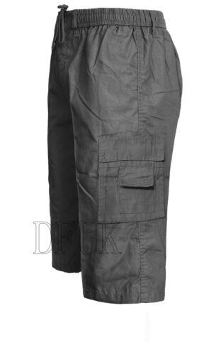 3XL Da Uomo 6 tasche Estate Cotone Combat Cargo SHORT 3//4 Casual Cerniera Pantaloni M