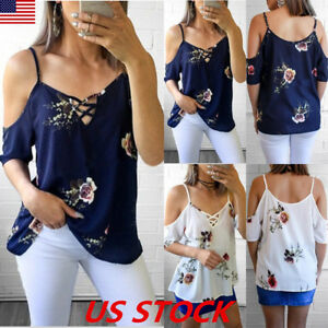 USA-Womens-Short-Sleeve-Cold-Shoulder-Floral-Print-Blouse-Casual-Summer-Tops-Tee