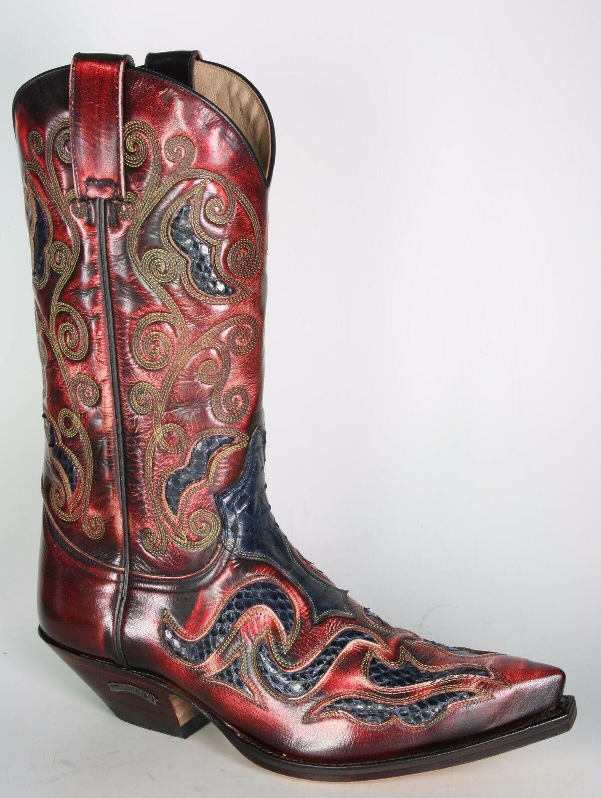 7428 Sendra botas de vaquero denver rojo Python azul marco cosidos Western botas
