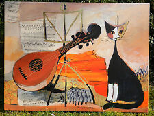 Regina WACHTMEISTER Bild Cat Musik ° Kunstdruck auf Keilrahmen