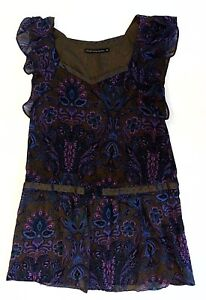 Steps-Womens-Tunic-Dress-Blue-Brown-Purple-Floral-Cap-Sleeve-Size-40-L-UK-14