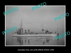 OLD-LARGE-HISTORIC-PHOTO-OF-AUSTRALIAN-NAVY-SHIP-HMAS-ANZAC-c1950