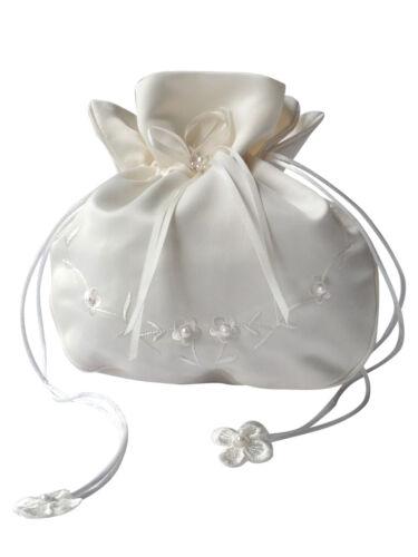 HBH Brautmoden Brauthandtasche aus Satin mit Perlen bestickt,Farbe Weiss Ivory
