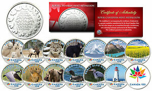 CANADA-150-ANNIVERSARY-RCM-Royal-Canadian-Color-Medallions-SET-of-14-WILDLIFE