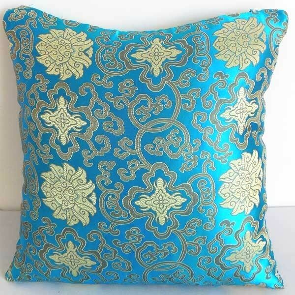 Cushion Cover Chinese Brocade Case Gorgeous V Blue Wealthy Flower Motif cbs-2002
