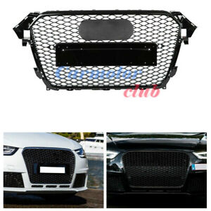 RS4-Style-Front-Bumper-Hex-Mesh-Honeycomb-Grill-Grille-For-Audi-A4-S4-B8-5-13-16