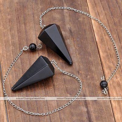 Gemstone Dowsing Pendulum Healing Chakra Reiki Obsidian Crystal Chain Pendant