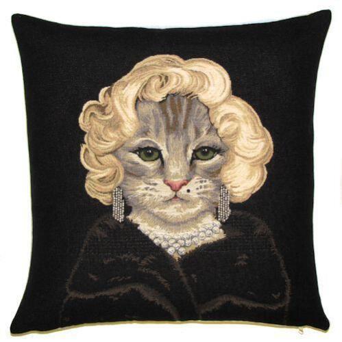 Jacquard Tissé Belge Tapisserie Coussin Marilyn Monroe chat impression-PC-5254