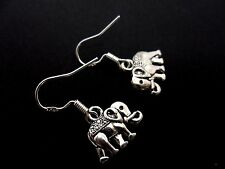 A PAIR OF TIBETAN SILVER ELEPHANT EARRINGS WITH 925 SOLID SILVER HOOKS. NEW..