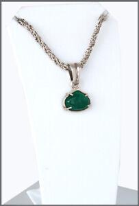 Smaragd-Grosser-Cabochon-9ct-tiefes-Gruen-Kolumbien-Anhaenger-Silber-SALE
