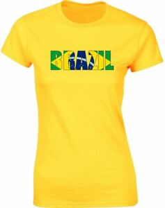 Brazil-Flag-Ladies-Printed-T-Shirt-Casual-Fitted-Women-Cotton-Tee-Top-All-Sizes
