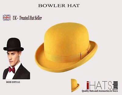 iHatsLondon Mens Mustard Yellow Bowler top Hat Supreme Quality Felt Bob Hat UK