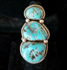 Heavy Huge 3 Stone Solid STERLING OLD PAWN Navajo Handmade Turquoise Ring SZ 7