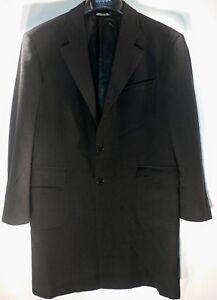 Zanella-Black-5-Button-Long-Sport-Coat-42R-Made-in-Italy-Vintage-Blazer-Jacket