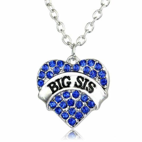 * UK shop gran SIS Azul Plata Cristal Amor Corazón Colgante Collar hermana mayor