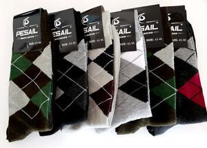 3 Paires Homme Designer Argyle Diamond Design Coton Riche Chaussettes Adultes Taille 6-11