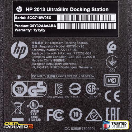 HP 2013 UltraSlim Docking Station AC  Elitebook 740 G1 G2 745 G2 G4 755 G3 G4