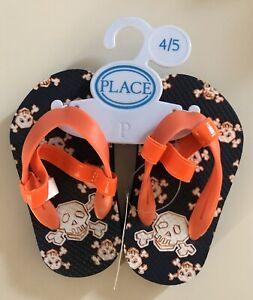 Sandals Navy Orange Skull Flip Flops   eBay