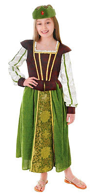 GIRLS FOREST MAID MARION GREEN BOOK WEEK FAIRY TALE COSTUME OUTFIT NEW 4-6-8-10