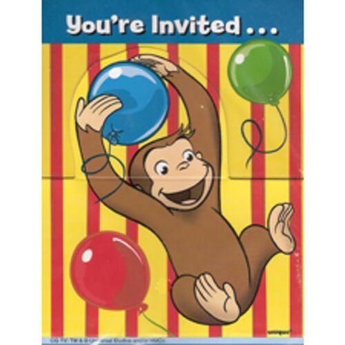 Disney Junior Curious George 8 Fête D/'Anniversaire Invitations invite avec enveloppes