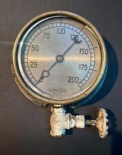 Vintage 6 Brass Steam Water Pressure Gauge Steampunk Antique Lonergan