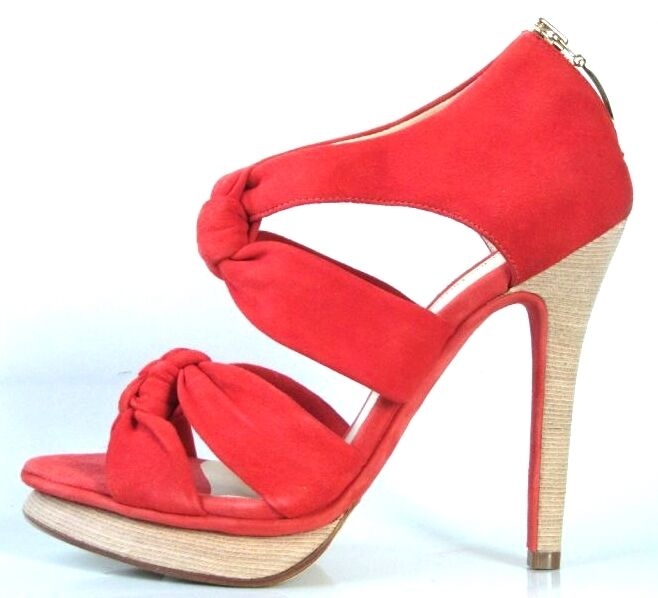 New  475 ALEXANDRE BIRMAN rot suede platforms back zipper heels schuhe  7.5