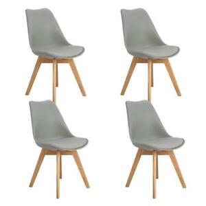 Dettagli su Set 4 sedie Grigio Tulip Design Gambe polipropilene Legno di faggio