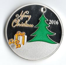 Merry Christmas 2016 Silver Coin Santa Clause Moon Rudolf Red Nose Reindeer Snow