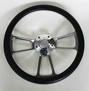 Blazer-C10-C20-C30-Chevy-Pick-Up-Steering-Wheel-Black-and-Billet-14-034-Bowtie-Cap