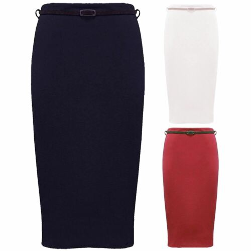 New Womens oversized Plain Belted Bodycon Casual Office Wear Midi Skirts 16-26