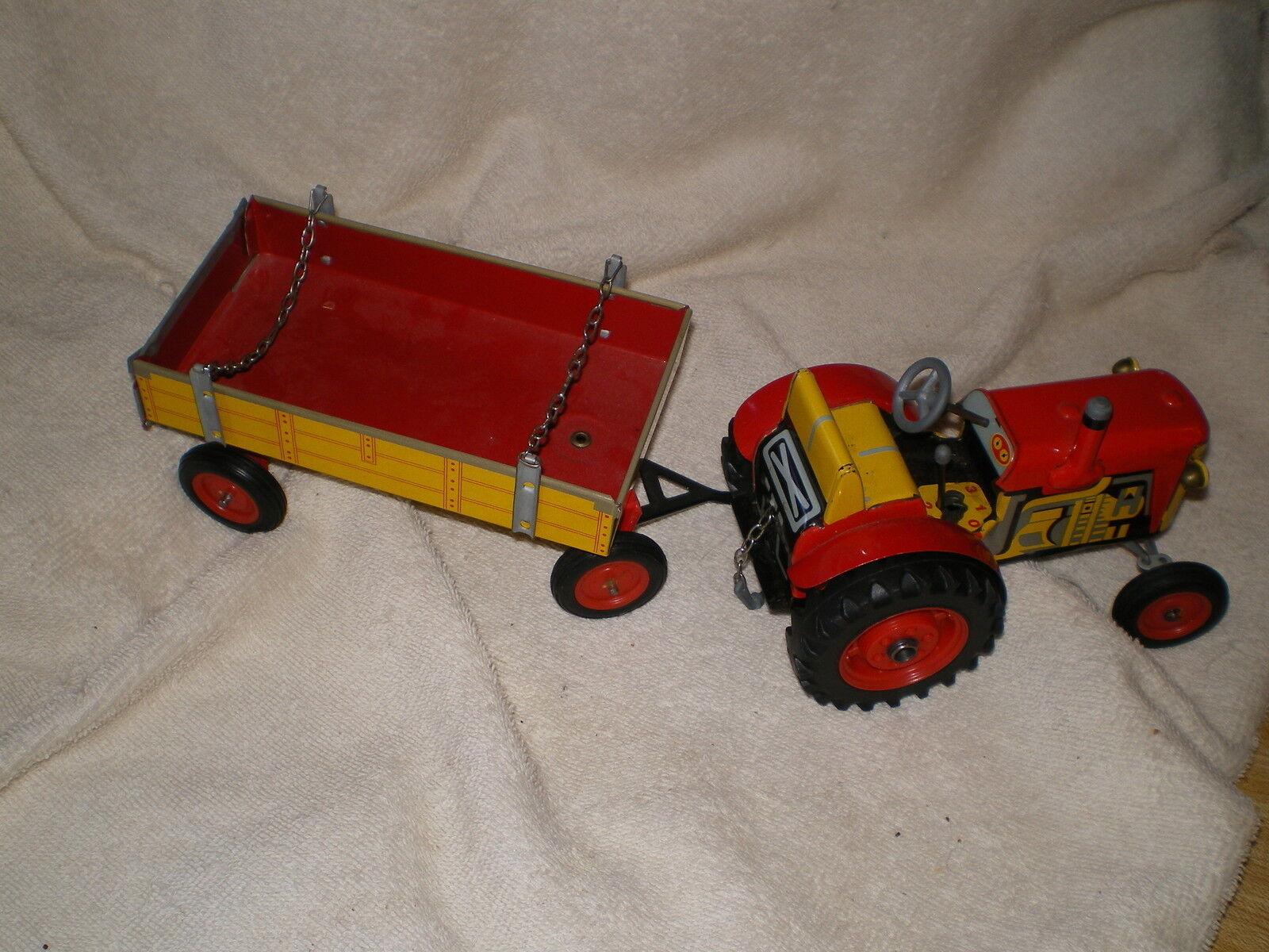 Zetor Tractor & Remolque, Vintage Estaño Wind Up Juguete, República Checa, ninguna clave