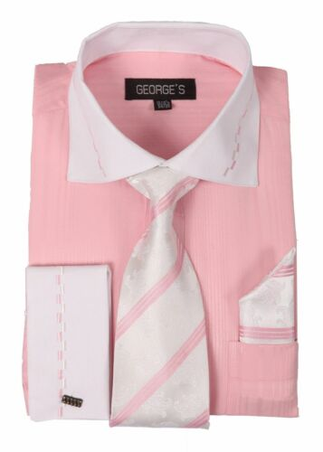 Men/'s fashion Dress Shirt With Tie/&Hanky Two Tone Color,French Cuff Pink # AH621