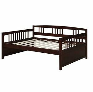 Day Bed Frame Espresso Finish Wooden Full Size Furniture