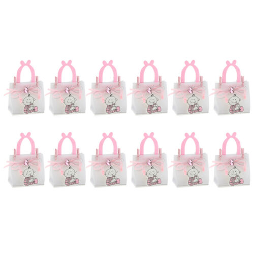 12pcs Small Baby Bear Candy Sweets Gift Bags Wooden Clips Baby Shower Supplier