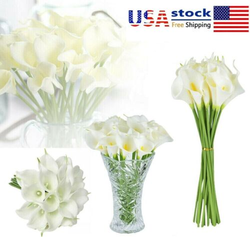 10~100Pcs Artificial Real Touch Calla Lily Fake Flowers Wedding Bride Bouquet US